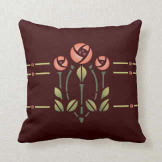 Glasgow Rose Stencil- Choose your background! Throw Pillow
