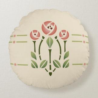Glasgow Rose Stencil Design by Helen Foster Round Pillow