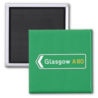 Glasgow, señal de tráfico BRITÁNICA Imán Cuadrado