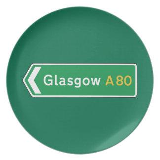 Glasgow señal de tráfico BRITÁNICA Platos De Comidas