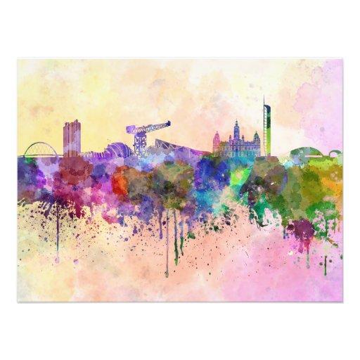 Glasgow skyline in watercolor background art photo
