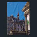 "Glasgow Tea towel<br><div class=""desc"">Photograph of the Duke of Wellington statue,  with traffic cone,  Gallery of Modern Art,  Glasgow,  Scotland.</div>"