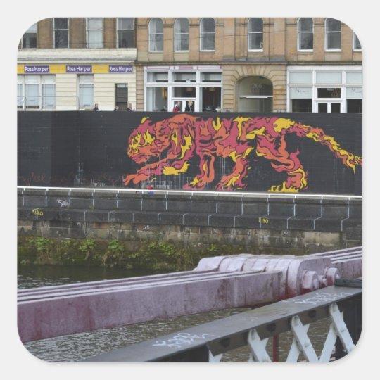glasgow tiger square sticker