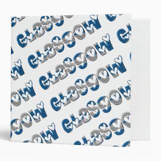 Glasgow Typography Scotland Scottish Flag Colors 3 Ring Binder