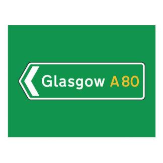 Glasgow, UK Road Sign Postcard