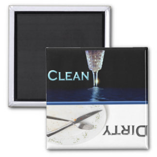 Glass and Dish Clean and Dirty Dishwasher 2 Inch Square Magnet