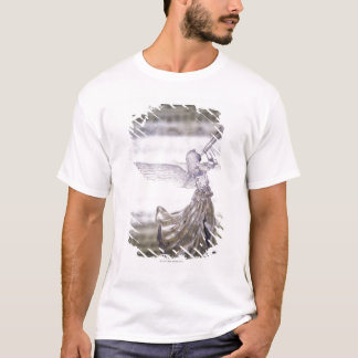 Glass angel playing trumpet and image of sheet T-Shirt