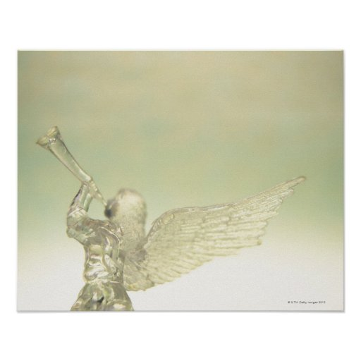 Glass angel playing trumpet, rear view posters