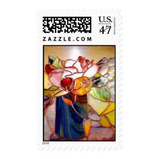 Glass Art Flower Arrangement Postage Stamp