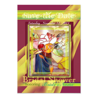 Glass Art Flower Red and Gold Party Invitation