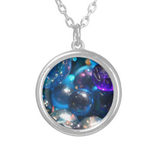 Glass Beads Round Pendant Necklace