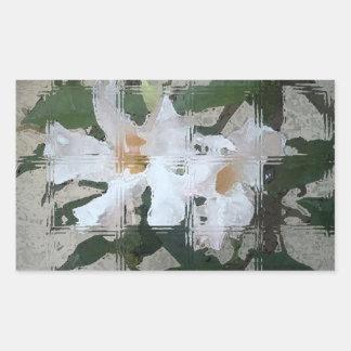 Glass Blocked White Flower Rectangular Sticker