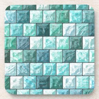Glass blocks texture beverage coaster