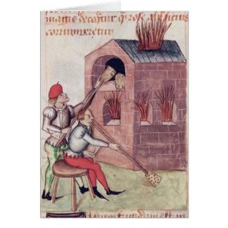 Glass blowers, from 'Tractatus de Herbis' Card