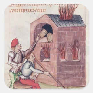 Glass blowers, from 'Tractatus de Herbis' Square Sticker