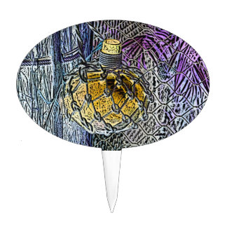 glass bottle purple yellow colored pencil look cake picks