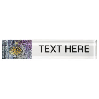 glass bottle purple yellow colored pencil look desk name plate