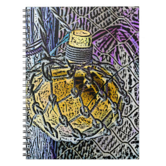 glass bottle purple yellow colored pencil look spiral notebooks