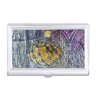 glass bottle purple yellow colored pencil look business card holders