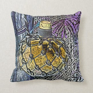 glass bottle purple yellow colored pencil look throw pillow