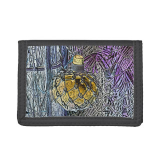 glass bottle purple yellow colored pencil look trifold wallet