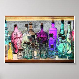 Glass Bottles in Window Print