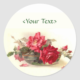Glass Bowl Roses - Customize Classic Round Sticker