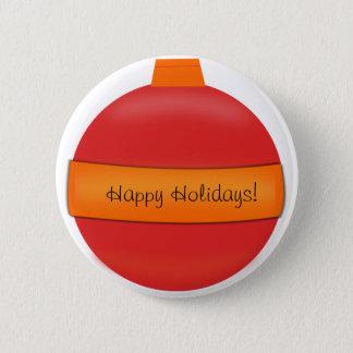 Glass Bulb Christmas Tree Ornament Pinback Button
