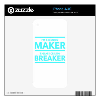 GLASS CEILING BREAKER HISTORY MAKER  T-SHIRT iPhone 4 DECAL