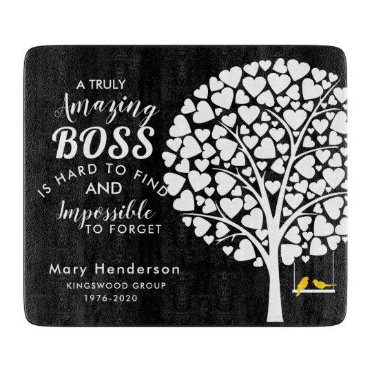 glass chopping board boss retirement gift zazzle com