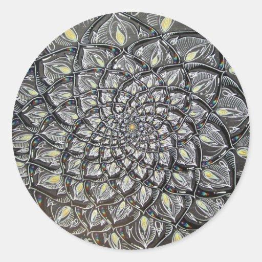 Glass Chrysanthemum Round Sticker