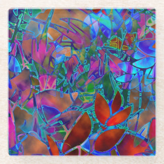 Glass Coaster Floral Abstract Stained Glass