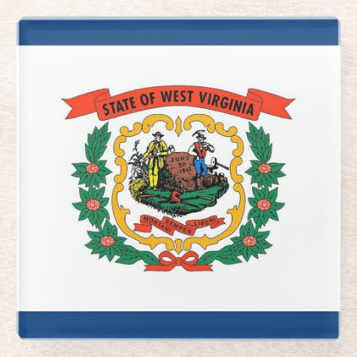Glass coaster with flag of West Virginia, USA