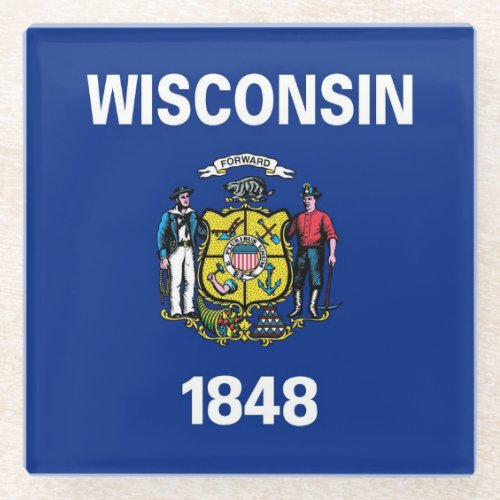 Glass coaster with flag of Wisconsin State, USA