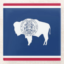 Glass coaster with flag of Wyoming State, USA