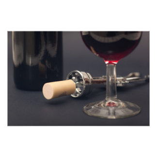 Glass, corkscrew and bottle of wine photo print