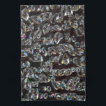"""Glass Crystals Reflections Towel<br><div class=""""desc"""">photography closeup of crystals on black background.</div>"""