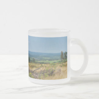 Glass cup of landscape in the winner country, cold