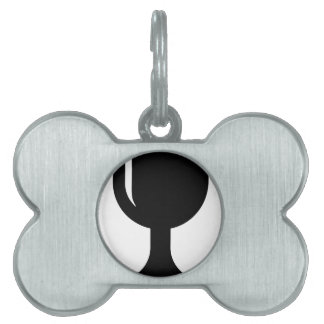 Glass cup pet name tag