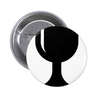Glass cup pinback button