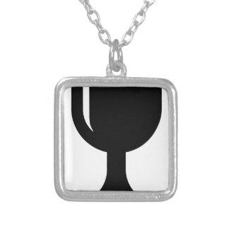 Glass cup square pendant necklace
