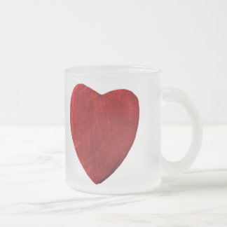 Glass cup with red heart from slate