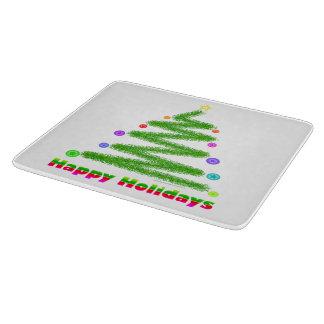 GLASS CUTTING BOARD, HAPPY HOLIDAYS CHRISTMAS TREE CUTTING BOARD