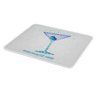 GLASS CUTTING BOARDS, BLUE MARTINI DESIGN CUTTING BOARD