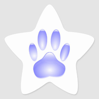 Glass Dog Paw Print Star Sticker
