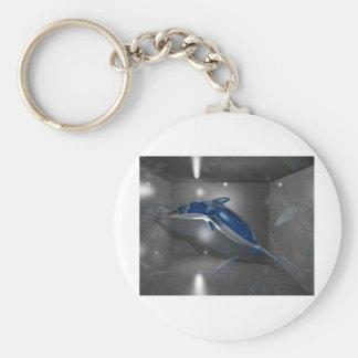Glass Dolphin Basic Round Button Keychain