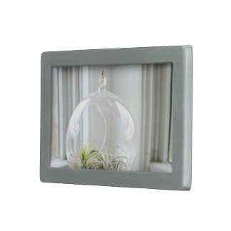 Glass dome with plants rectangular belt buckle
