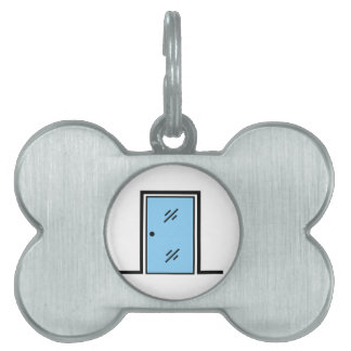 glass door with frame pet name tag