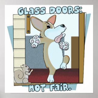 Glass Doors Corgi Poster