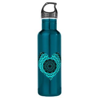 Glass Effect Mosaic Aquamarine (Heart) Stainless Steel Water Bottle